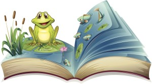 Book with a story of frog in the pond